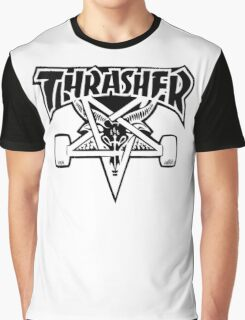 "Thrasher ""666"" Satanic Logo Design Graphic T-Shirt"