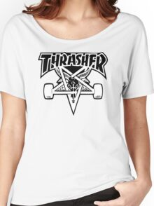 "Thrasher ""666"" Satanic Logo Design Women's Relaxed Fit T-Shirt"