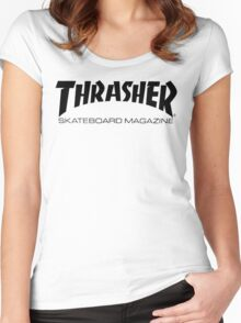 "Thrasher ""Skateboard Magazine"" Logo Design Women's Fitted Scoop T-Shirt"