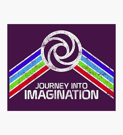 Journey Into Imagination Distressed Logo in Vintage Retro Style Photographic Print