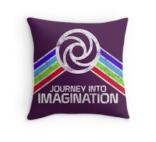 Journey Into Imagination Distressed Logo in Vintage Retro Style Throw Pillow