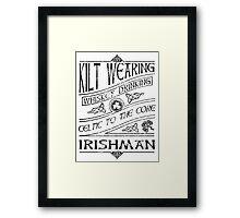 Kilt Wearing Irishman - black Framed Print