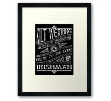 Kilt Wearing Irishman - white Framed Print