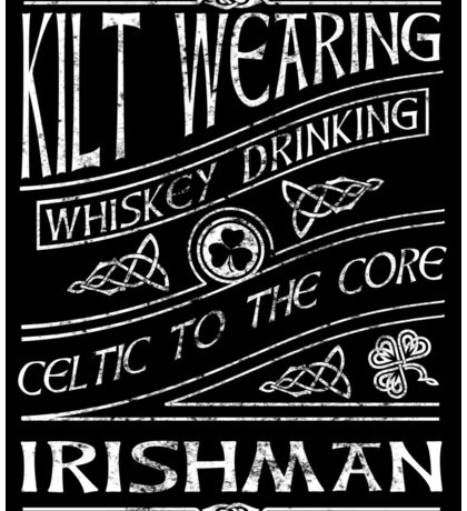 Kilt Wearing Irishman - white Sticker