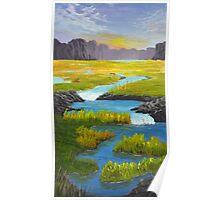 Marsh River Original Acrylic painting Poster