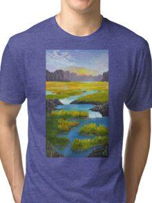 Marsh River Original Acrylic painting Tri-blend T-Shirt