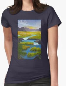 Marsh River Original Acrylic painting Womens Fitted T-Shirt