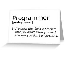 Programmer definition black Greeting Card