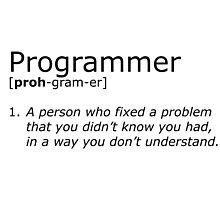 Programmer definition black Photographic Print