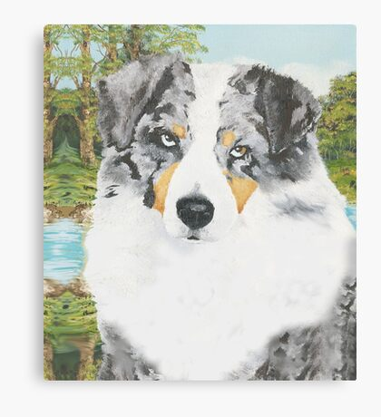 """Rowdy"" Australian Shepherd Dog Portrait Canvas Print"