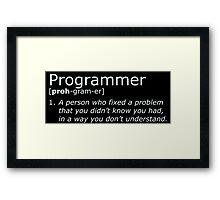 Programmer definition white Framed Print