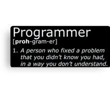 Programmer definition white Canvas Print