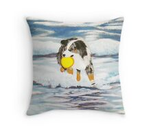 Australian Shepherd Frisbee Dog in Surf Throw Pillow