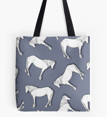 Horse Pattern: White Horses on Lilac: Random: Drawing Tote Bag