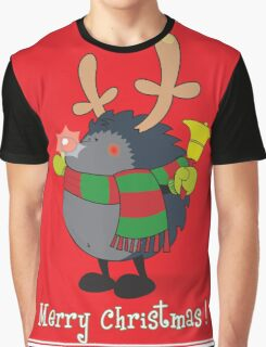 Rudolph the Red Nosed Hedgehog wishes You a Merry Christmas! Graphic T-Shirt