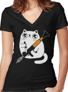 Cuddly Combat Cat Women's Fitted V-Neck T-Shirt