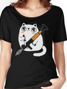 Cuddly Combat Cat Women's Relaxed Fit T-Shirt