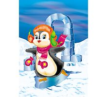 penguin on the skates Photographic Print