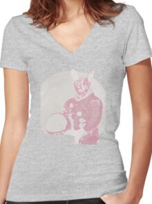 Space Cat #1 Women's Fitted V-Neck T-Shirt