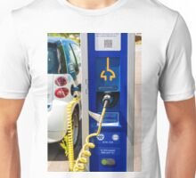 A car-sharing electric Smart is being recharged Unisex T-Shirt