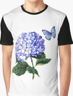 Blue hydrangea and butterfly Graphic T-Shirt