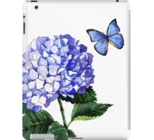Blue hydrangea and butterfly iPad Case/Skin