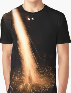 Fireworks rocket being launched out of a champagne bottle on its way into the sky Graphic T-Shirt