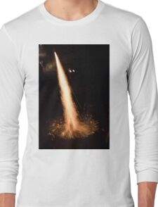 Fireworks rocket being launched out of a champagne bottle on its way into the sky Long Sleeve T-Shirt