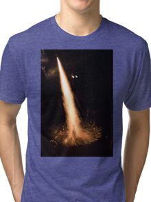 Fireworks rocket being launched out of a champagne bottle on its way into the sky Tri-blend T-Shirt