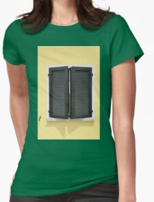 Partly opened green window shutters on bright yellow wall with great shadows Womens Fitted T-Shirt