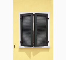 Partly opened green window shutters on bright yellow wall with great shadows Unisex T-Shirt