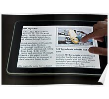 Modern Tablet PC displaying news with hand touching the display Poster