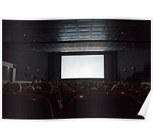 Empty cinema screen with audience.  Poster