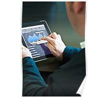 Closeup of a businessman accessing his digital tablet PC Poster