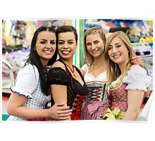 Joyful young and attractive women at German funfair Oktoberfest with traditional dirndl dresses and joyride in the background. Poster