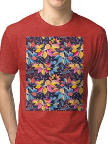 graphic seamless pattern of colored leaves and snails Tri-blend T-Shirt