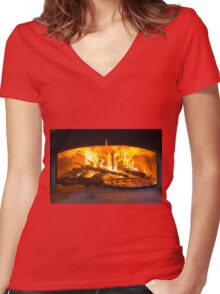 traditional Italian pizza wood oven with raw pizza and large fire in the background Women's Fitted V-Neck T-Shirt