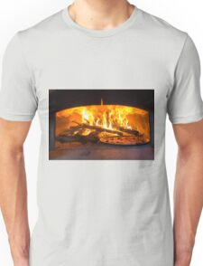 traditional Italian pizza wood oven with raw pizza and large fire in the background Unisex T-Shirt