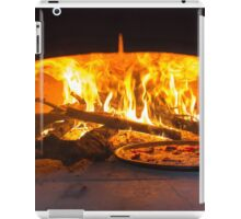 traditional Italian pizza wood oven with raw pizza and large fire in the background iPad Case/Skin