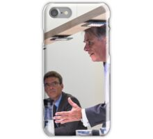 Conflict in office : Female business executive arguing with her boss at meeting over latest sales figures with others watching iPhone Case/Skin
