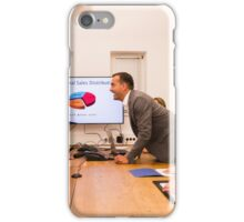 Conflict in the office : Business woman arguing with her boss at meeting over latest sales figures with others watching embarassed iPhone Case/Skin
