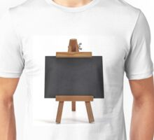 Blackboard with easel on white Unisex T-Shirt