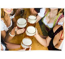 Bavarian girls in traditional Dirndl dresses are drinking beer and having fun at the Oktoberfest Poster