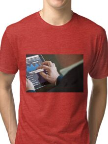 Businessman with digital tablet PC Tri-blend T-Shirt