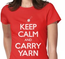 Keep Calm and Carry Yarn Knitting T Shirt Womens Fitted T-Shirt