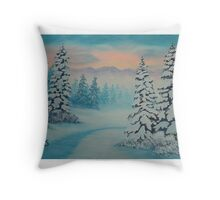Early To Rise, winter scene Throw Pillow