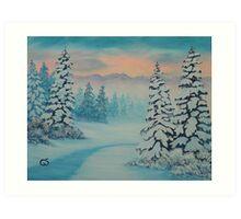 Early To Rise, winter scene Art Print