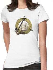 Clipper Through A Porthole Womens Fitted T-Shirt