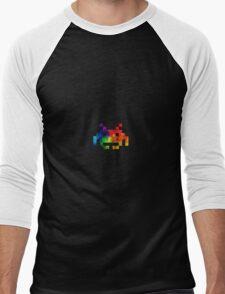 Colour-Burst Space Invader Men's Baseball ¾ T-Shirt