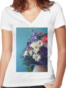 Flower Blue Women's Fitted V-Neck T-Shirt